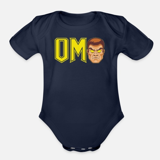 Movie Baby Clothing - om - Organic Short-Sleeved Baby Bodysuit dark navy