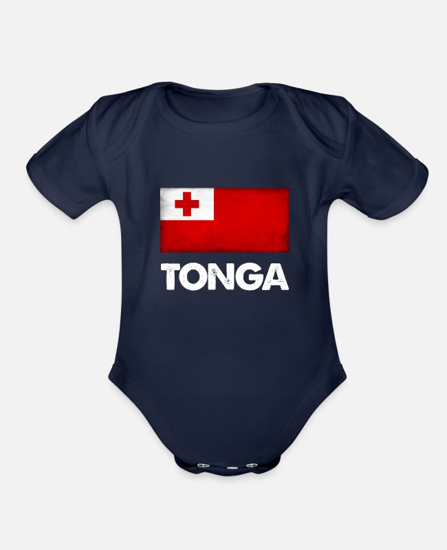 Tongan Baby One Pieces - Tonga Tongan Flag design Gift - Organic Short-Sleeved Baby Bodysuit dark navy