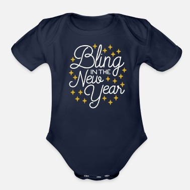 Bling Bling In The New Year with Stars - Organic Short-Sleeved Baby Bodysuit
