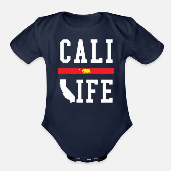Life Baby Clothing - CALI LIFE - Organic Short-Sleeved Baby Bodysuit dark navy