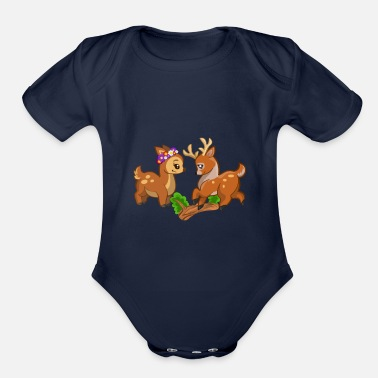 Deer love by LindezaDesign - Organic Short-Sleeved Baby Bodysuit