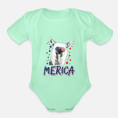 Chinese Crested 4th of July Shirt merica Chinese Crested Dog 4th - Organic Short-Sleeved Baby Bodysuit