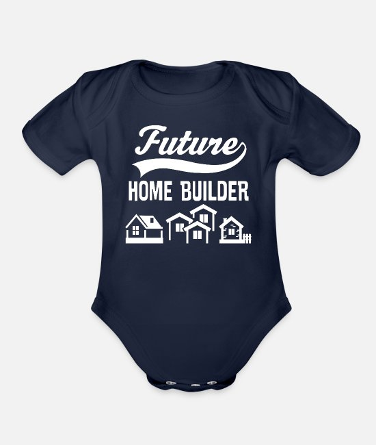 Construction Baby One Pieces - Contractor Future Home Builder - Organic Short-Sleeved Baby Bodysuit dark navy