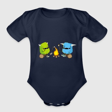 Camping monsters - Organic Short Sleeve Baby Bodysuit