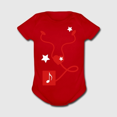 I LOVE MUSIC IPOD - Organic Short Sleeve Baby Bodysuit