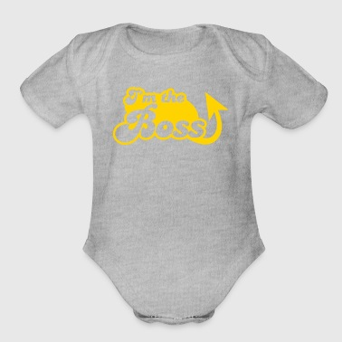 I'm the Boss! with arrow - Organic Short Sleeve Baby Bodysuit