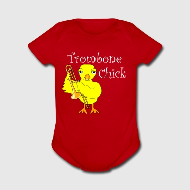Trombone Chick White Text - Short Sleeve Baby Bodysuit