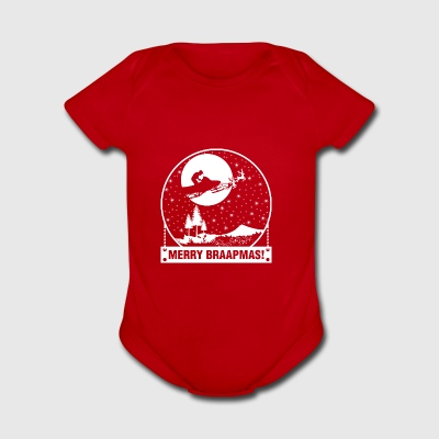 Merry Braapmas Christmas Santa Snowmobile - Short Sleeve Baby Bodysuit