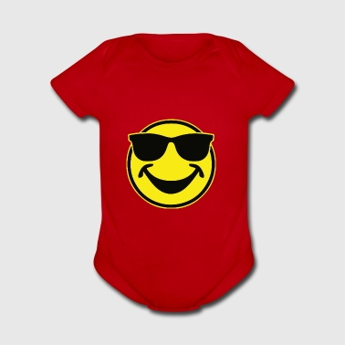COOL yellow SMILEY BRO with sunglasses - Short Sleeve Baby Bodysuit