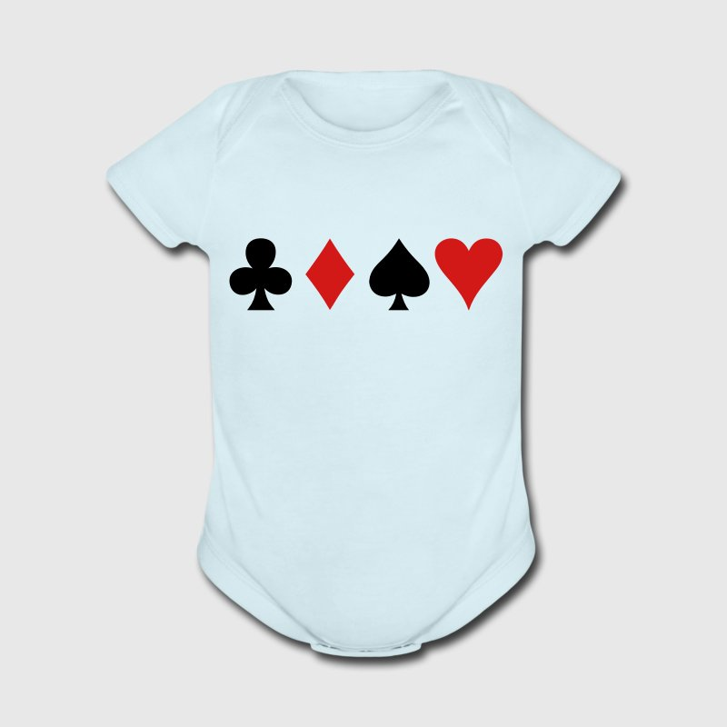 all four poker spade diamond club and heart suits in a row - Short Sleeve Baby Bodysuit