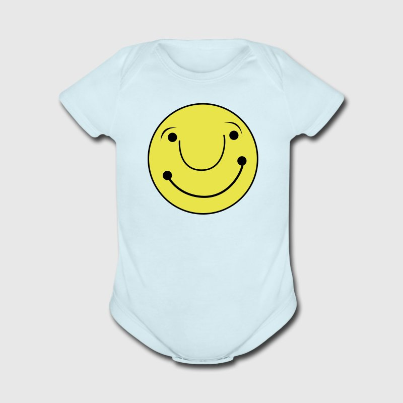 cute smiley happy face - Short Sleeve Baby Bodysuit