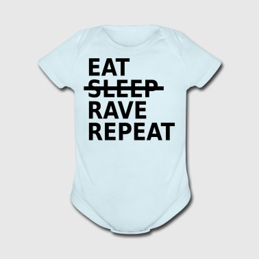 eat sleep rave repeat - Short Sleeve Baby Bodysuit