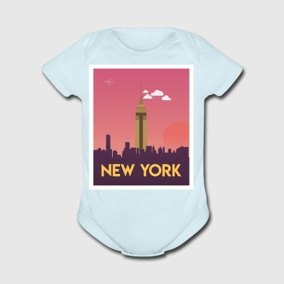 New York Empire Skyline Dusk - Short Sleeve Baby Bodysuit