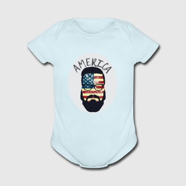America Patriotic Beard Sunglasses Flag - Short Sleeve Baby Bodysuit