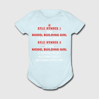 gift rule 1 always right MODEL BUILDING GIRL - Short Sleeve Baby Bodysuit