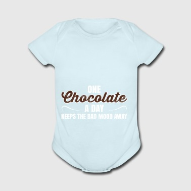 One Chocolate A Day Keeps Bad Mood Away Gift - Short Sleeve Baby Bodysuit