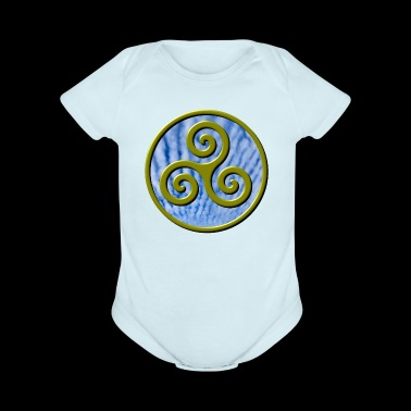 Karma Triskelion Swirl Gold with Clouds - Short Sleeve Baby Bodysuit