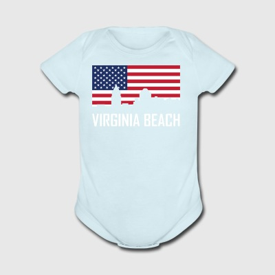 Virginia Beach Virginia Skyline American Flag - Short Sleeve Baby Bodysuit