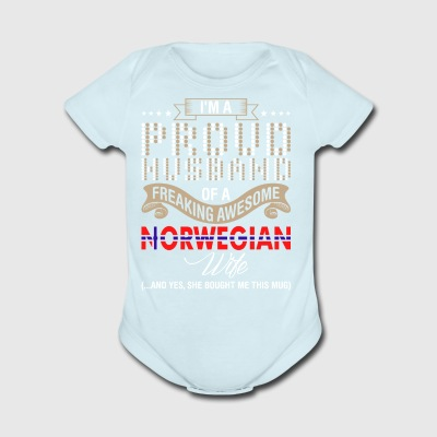 Im A Proud Husband Of A Freaking Awesome Norwegian - Short Sleeve Baby Bodysuit