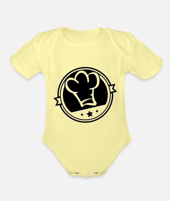 Cooker Baby One Pieces - cook_hat_si1 - Organic Short-Sleeved Baby Bodysuit washed yellow