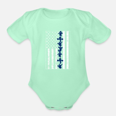 Ghost Thin Blue Line Flag Design with a line of Ghosts - Organic Short-Sleeved Baby Bodysuit