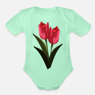 Tulip Red Tulips - Organic Short-Sleeved Baby Bodysuit