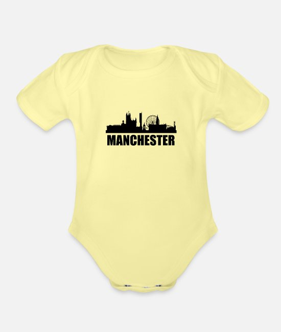 Skyline Baby One Pieces - Manchester Skyline - Organic Short-Sleeved Baby Bodysuit washed yellow