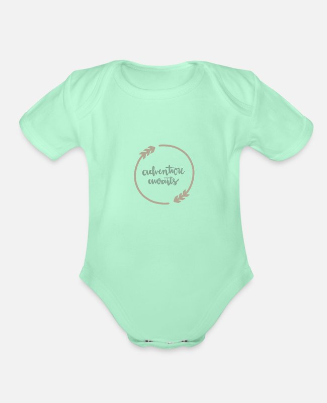 Adventure Baby One Pieces - Adventure awaits - Organic Short-Sleeved Baby Bodysuit light mint