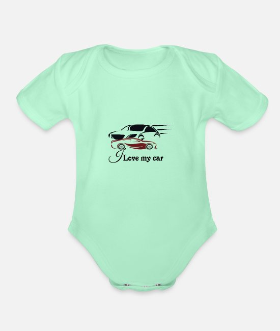 Pilot Baby One Pieces - Lovely car - Organic Short-Sleeved Baby Bodysuit light mint