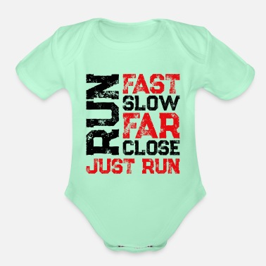 Speed Race run saying - Organic Short-Sleeved Baby Bodysuit