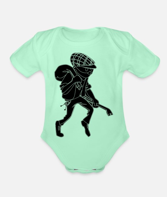 Thief Baby One Pieces - Burglar Silhouette - Organic Short-Sleeved Baby Bodysuit light mint