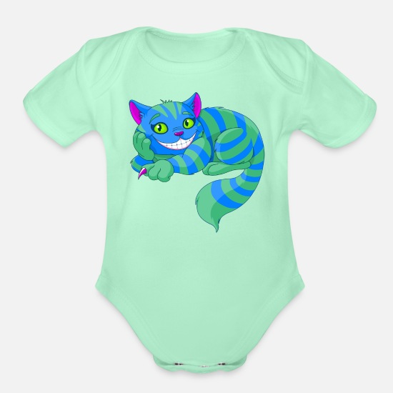 Kids Baby Clothing - Cheshire Cat - Organic Short-Sleeved Baby Bodysuit light mint