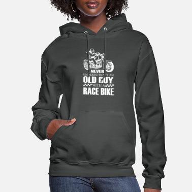 Guys Old Guy With A Race Bike T shirt - Women's Hoodie