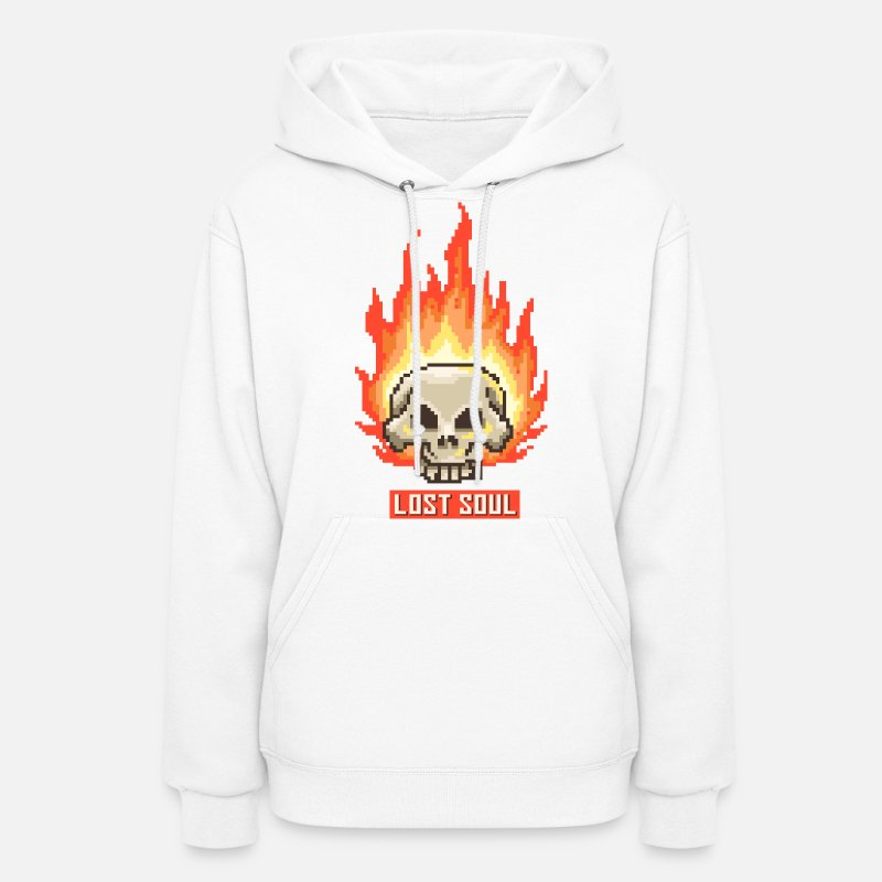 Art Hoodies & Sweatshirts - Burning Skull Lost Soul | Pixel Art - Women's Hoodie white