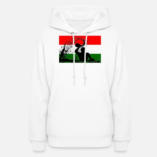 Hungary Hoodies & Sweatshirts - Hungary Water Polo Player Silhouette Flag Gift - Women's Hoodie white