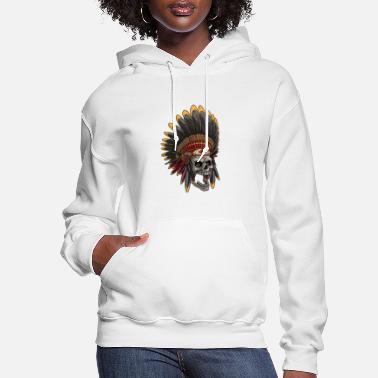 American Indian Indian Chief Skull - Women's Hoodie