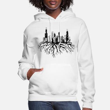 Chicago Chicago Skyline Silhouette Vector with Roots Tee - Women's Hoodie
