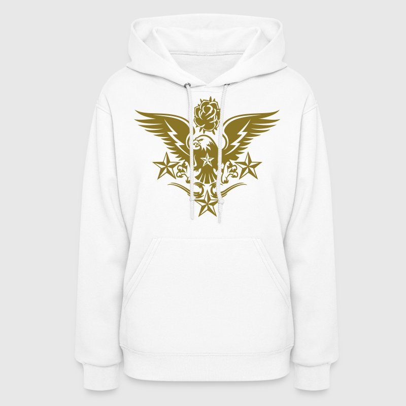 Eagle,Rose,and Nautical Star Lightning Tattoo - Women's Hoodie