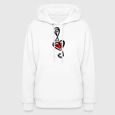 Note music heart classic, treble clef, violin - Women's Hoodie