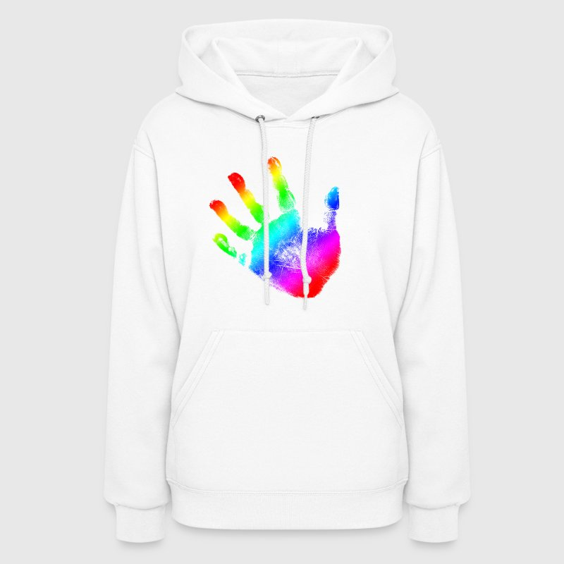Hand print - Rainbow - Imprint, Fingerprint, palm, high five perfect for hoodies, tshirts, tanks, iphone cases, ipad cases, etc!  - Women's Hoodie
