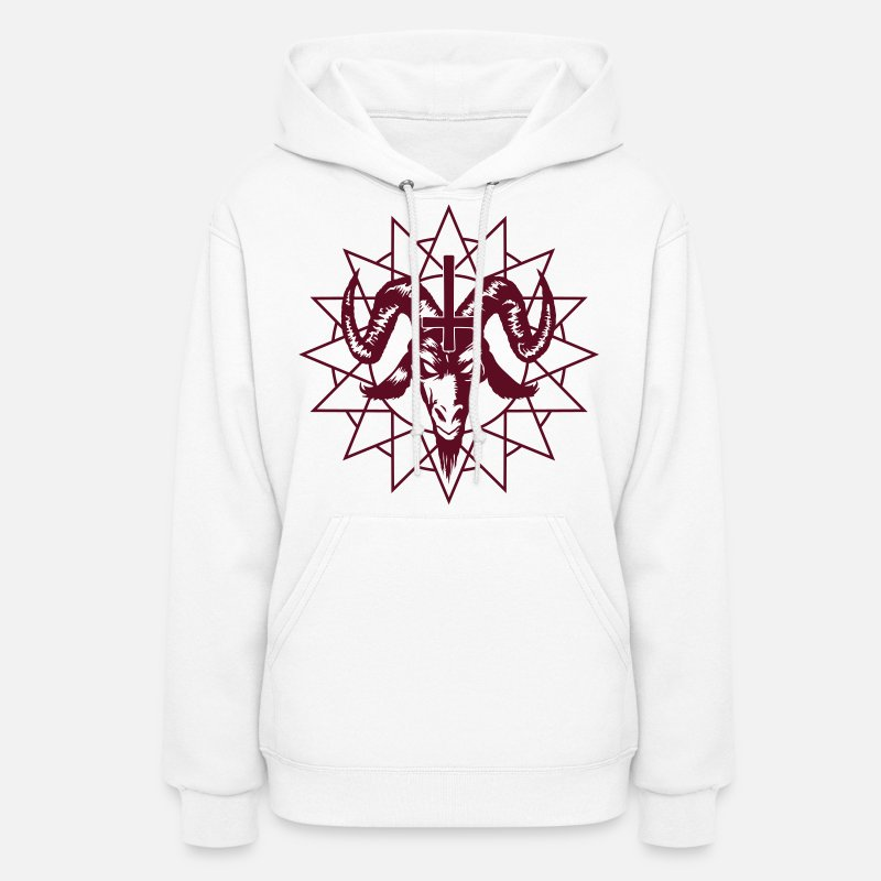 Satanic Hoodies & Sweatshirts - Satanic Goat Head with Chaos Star - Women's Hoodie white