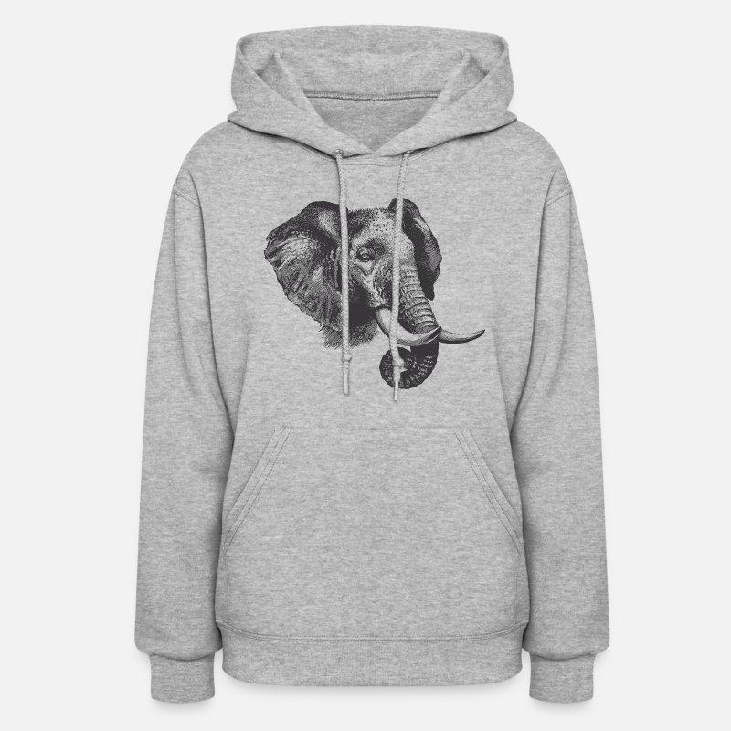 8a3f0a5c33c5f8 Elephant Hoodies   Sweatshirts - Engraved Elephant - Women s Hoodie heather  gray