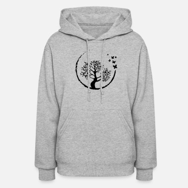 Graphic Bonsai Tree Butterfly Enso Circle Buddhist Zen - Women's Hoodie