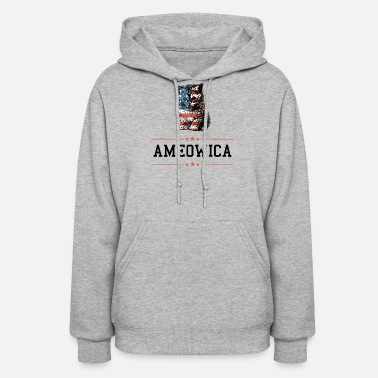 Ameowica American Kitten Meow Patriotic Graphic - Women's Hoodie