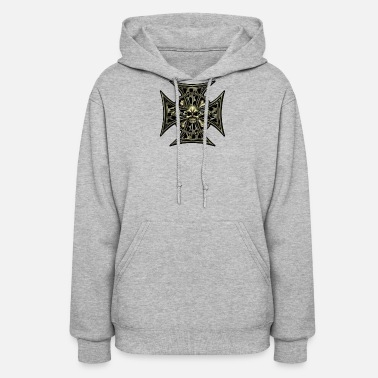 Iron Iron Cross Skull Chain Flames - Women's Hoodie