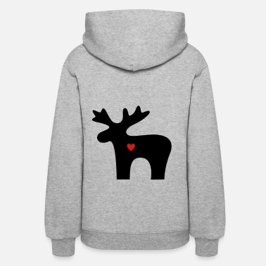 Moose Moose Heart Love Silhouette Christmas - Women's Hoodie