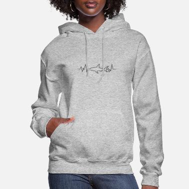 Great White Shark Heartbeat Shark for great white shark fans - Women's Hoodie