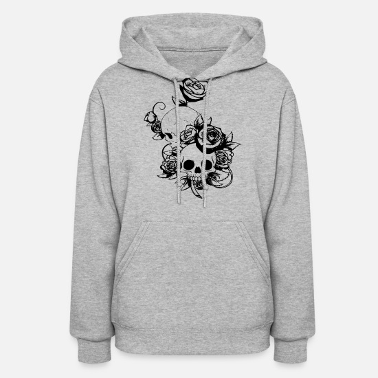 Skull Hoodies & Sweatshirts - Cool Beautiful skull with flowers - Women's Hoodie heather gray