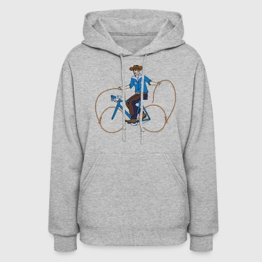 Cowboy Riding Bike With Lasso Wheels - Women's Hoodie