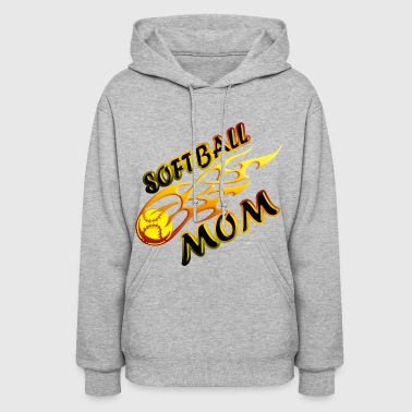 Softball Mom Ball On Fire - Women's Hoodie